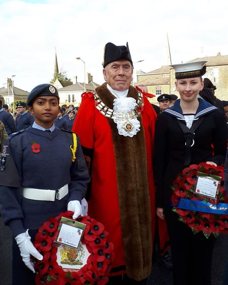 L-R: Leading cadet Jane Hayward, the Mayor of Brentwood, councillor Keith Parker and Brentwood sea c