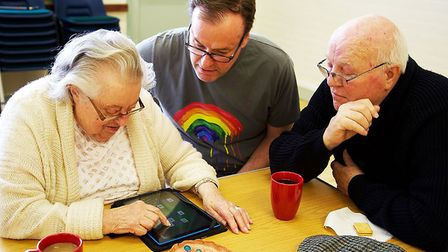 Essex Dementia Care beneficiaries using tablet computer given by WaveLength. Picture: WaveLength