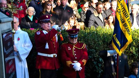 Senior bulger Richard Sawyer from the Hornchurch Drum & Trumpet Corps band at the Upminster Remembra