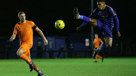 Malaki Toussaint of Romford goes close during Romford vs Brentwood Town, Velocity Trophy Football at