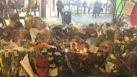 Tributes have been left outside the McDonalds in the Broadway, Stratford for15-year-old Baptista Adj