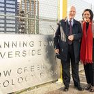 Mayors John Biggs and Rokhsana Fiaz at the launch of the walkway linking Poplar to Canning Town. Pic