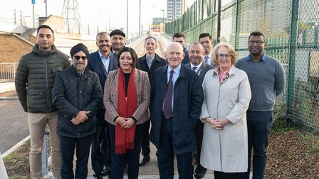 Mayors of Newham and Tower Hamlets, Rokhsana Fiaz and John Biggs, at the opening of the new walkway