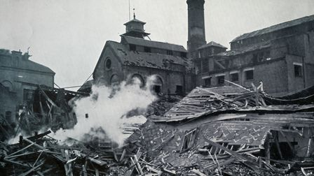 The Brewery, in Romford, after bomb damage in the 1940s. Picture London Borough of Havering Local St