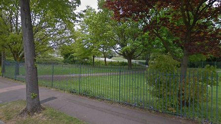 The deer had got stuck in the railings to Central Park in Harold Hill. Picture: Google