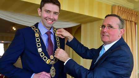 Lowestoft Journal content editor Andrew Papworth with Lowestoft Mayor Stephen Ardley.PHOTO: Nick But
