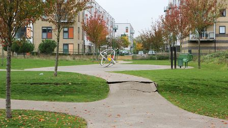 Jubilee Park closed because of ground subsidence. Picture: Melissa Page