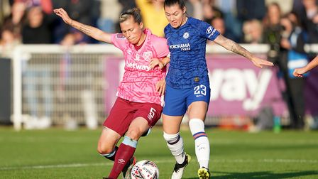 West Ham Women's Gilly Flaherty (left) and Chelsea Women's Ramona Bauchman during the Women's Super