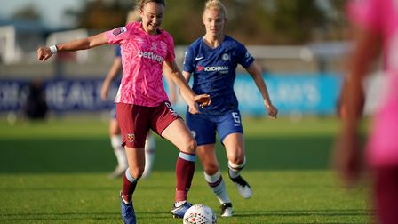 West Ham Women's Martha Thomas (left) and Chelsea Women's Sophie Ingle during the Women's Super Leag