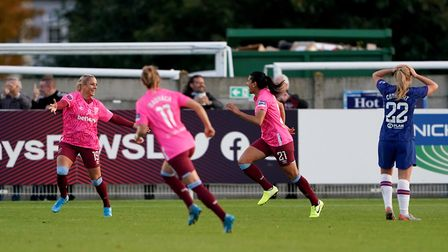 West Ham Women's Adriana Leon celebrates scoring her side's first goal during the Women's Super Leag