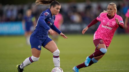 Chelsea Women's Ramona Bauchman (left) during the Women's Super League match at Rush Green Stadium,