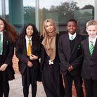 Forest Gate Community School headteacher Thahmina Begum with pupils. Picture: Tom Barnes