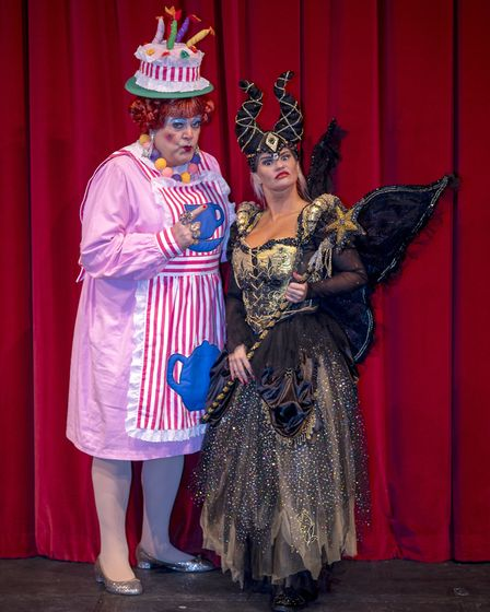 Bobby Crush plays the dame and Kerry Katona stars as wicked witch Carabosse. Picture: Rob Brown