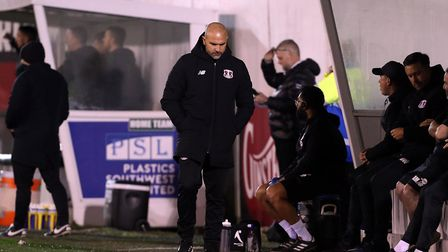 New Leyton Orient head coach Carl Fletcher on the touchline at Plymouth (pic Simon O'Connor)