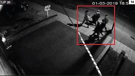 CCTV still of Jodie and friends walking to Amy's Park in St Neot's Road, Harold Hill on March 1. Pic