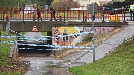 Police at the bridge over the underpass under Brandon Road in Thetford where David Lawal was stabbed