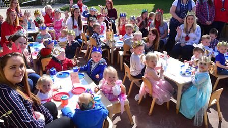 Youngsters at the Ladybird Day Care centre dress up for a special tea party to celebarte the Queen's