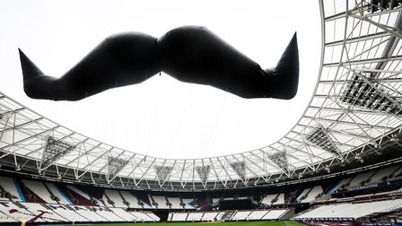 A giant inflatable moustache at the London Stadium in support of Movember. Picture: Matt Alexander/P