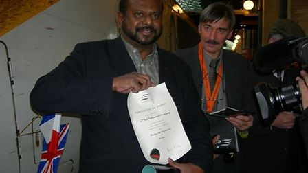 Paul Sathianesan after the first Eurostar journey. Picture: Paul Sathianesan