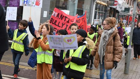 Schools from the Upminster School Council Alliance taking part in their anti-bullying march through