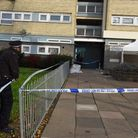 Police at the scene of the murder at Owen Waters House in Clayhall. Picture: Ken Mears