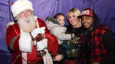 Father Christmas comes to meet some of S Club 3. Picture: Ken Mears
