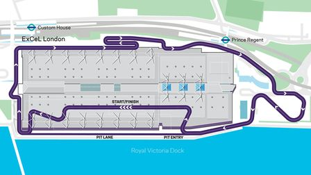 The proposed track, including a section inside the ExCeL. Picture: Formula E
