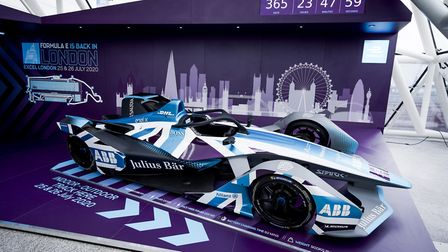 A Formula E car is on display inside the ExCeL in the build-up to next year's event. Picture: Malcol