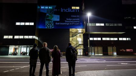 A light display at University Square Stratford showing the periodic table. Picture: Steven Paston/PA