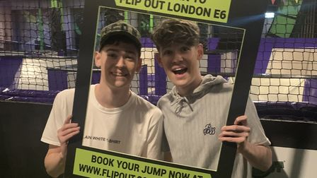 Max and Harvey Mills filmed part of their Celebrity X Factor story at Flip Out E6. Picture: Flip Out