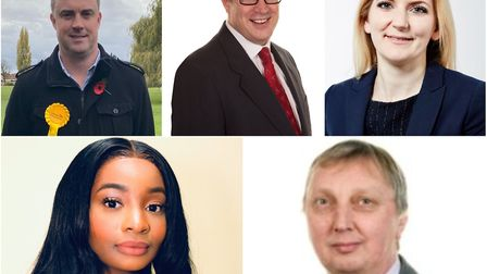 L-R: Thomas Clarke, David Furness, Julia Lopez, Tele Lawal and Peter Caton - Hornchurch and Upminste