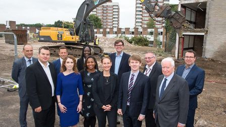 Cllr Damian White joined Wates Residential staff and the site team as bulldozers began demolishing t