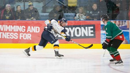Raiders forward Blahoslav Novak fires a shot on goal against Basingstoke Bison (Pic: John Scott)