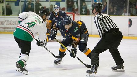 Raiders forward Lukas Sladkovsky competes at a face-off in Basingstoke (pic John Scott)