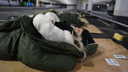 Events Manager Charlotte Small at the Brewery Sleepout. Picture: Ken Mears