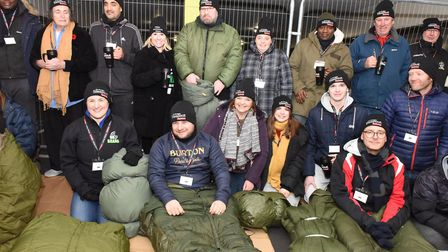 Brewery staff with people from Help4Havering and those affected by being homeless at the sleepover i