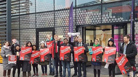 Loughborough University London lecturers were joined by Newham politicans during the strike action.