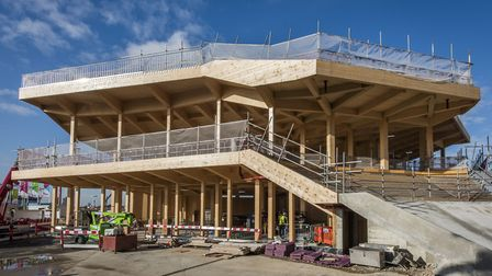 The pavilion under construction in Queen Elizabeth Olympic Park. Picture: Sean Pollock