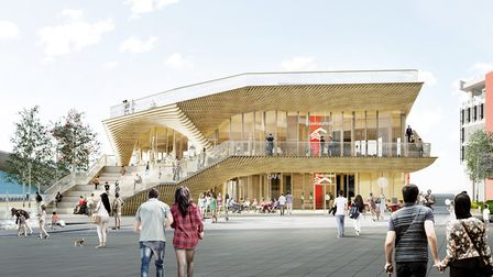 CGI of the Queen Elizabeth Olympic Park pavilion Picture: IQL