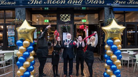 The deputy Mayor of Havering councillor John Mylod officially reopens The Moon and Stars pub in Sout