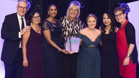 Macmillan Professionals Excellence Awards host Larry Lamb with Barts Health urology team members Jac