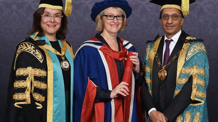 Kathryn Halford OBE, centre, with vice chancellor and president Prof Amanda Broderick and chancellor