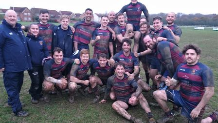East London players celebrate their win at Braintree (pic ELRFC)