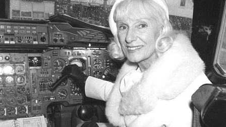 Jean Batten at the controls of a Concorde in 1979. Picture: PA