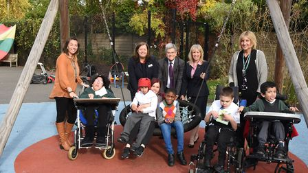 Newbridge School in Gresham Drive celebrating getting new play equipment funding from Nationwide sta