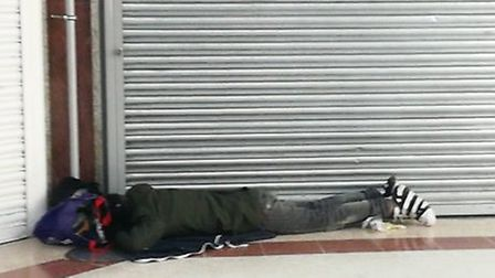 A rough sleeper on the floor of the Stratford Centre. Picture: Archant