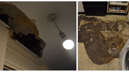 The caved-in ceiling in Lawrence Street and, right, the exposed and crumbling asbestos floor. Pictur