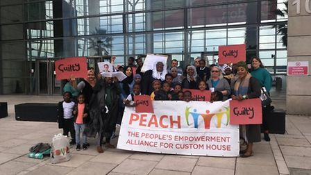 Members of tenants' group Mears Cats at Dockside in May 2019. After the protest, Newham Council's me