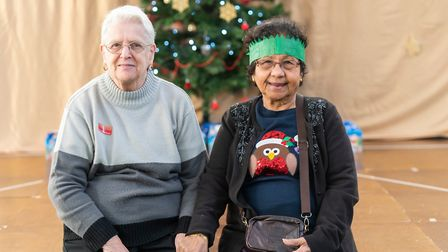 Prudence Heldt and Beryl Veares enjoyed the Christmas lunch at Elmhurst Primary School. Picture: New