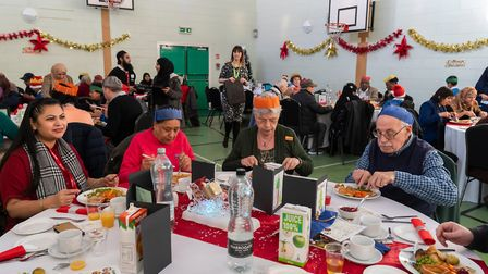 Residents who experience social isolation came together for a Christmas meal at Elmhurst Primary Sch